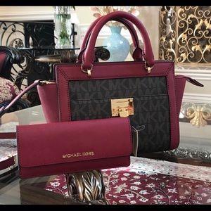 2pcs much Kors small Tina satchel&wallet set